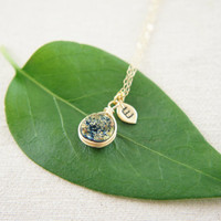 Gold wire wrapped Mystic Green Druzy Quartz necklace with a personalized leaf, gold, wedding, bridesmaid
