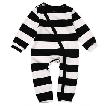 Pudcoco Baby Boys Clothes Zip Up Sleeper Long Sleeve Striped Infant Newborn Sleep and Play Suit