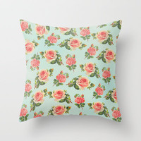 LONGING FOR SPRING- FLORAL PATTERN Throw Pillow by Allyson Johnson