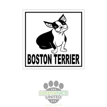 Boston Terrier dog decal - square vinyl sticker - Boston breed bias love - Smooshface United