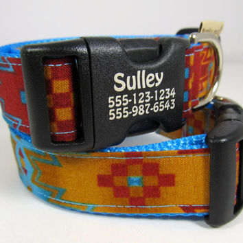 Personalized dog collar in Native American geometrics in marigold, brick red, and turquoise