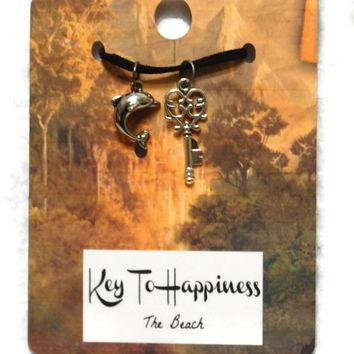 Keys To Happiness - The Beach,Key Charm,Necklace Charm, Antique Key,Skeleton Key Pendant,Stocking Stuffer,Party Favor,Wedding Favor,Under 25