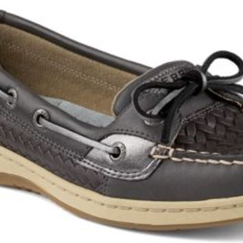 Sperry Top-Sider Angelfish Woven Slip-On Boat Shoe GraphiteWovenLeather, Size 5M  Women's Shoes