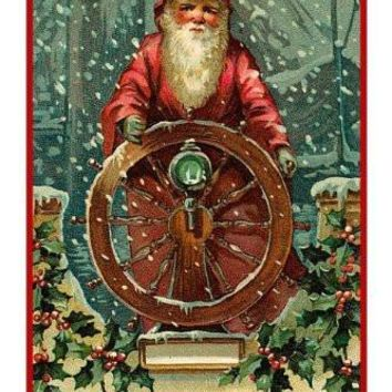 Victorian Father Christmas Santa Steering a Boat Counted Cross Stitch or Counted Needlepoint Pattern