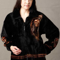 Native American Fleece Jackets, Mazmania Chief Jacket in Black