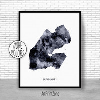 Djibouti Print, Watercolor Map, Djibouti Map Print, Office Wall Decor, Office Wall Art, Living Room Art, Map Decor, Map Wall Art Print Zone