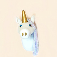 Unicorn Head Wall Mount, Unicorn Room Decor, faux taxidermy unicorn, Purple Nursery Decor, Unicorn nursery, Pastel nursery, Cute girl room