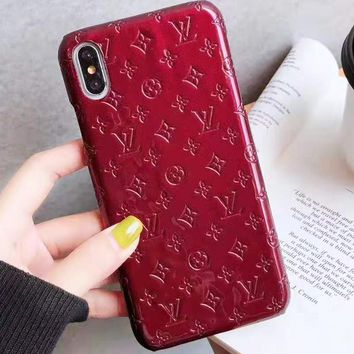 LV Louis Vuitton New fashion monogram leather couple phone case protective cover