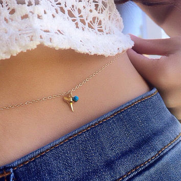 SRPING SALE Shark Tooth Belly Chain, Shark Tooth & Turquoise Gold Filled Belly Chain, Waterproof Body Chain