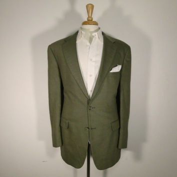 Vintage mens blazer sport coat jacket 80's by Brooks Brothers Beige Linen 42L
