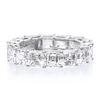 A Museum Perfect 4.8TCW Asscher Cut Russian Lab Diamond Eternity Ring