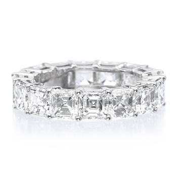 A Museum Perfect 6TCW Asscher Cut Russian Lab Diamond Eternity Ring