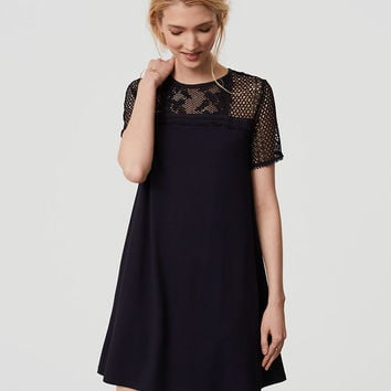 Lace Yoke Swing Dress | LOFT