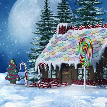 GINGERBREAD HOUSE CANDY CHRISTMAS BACKDROP 8x8 - LCPC5306 - LAST CALL