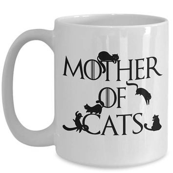 Mother of Cats Daenerys Targaryen Khaleesi Game of Thrones Spoof Crazy Cat Lady Cat Mom Cute Cat Rescue Mom Mug Cat Themed Gifts Coffee Cups