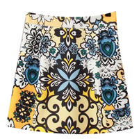 White and Yellow Paisley Print Zip Up Mini Skirt
