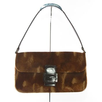 Authentic Fendi brown calf hair shoulder bag made in Italy