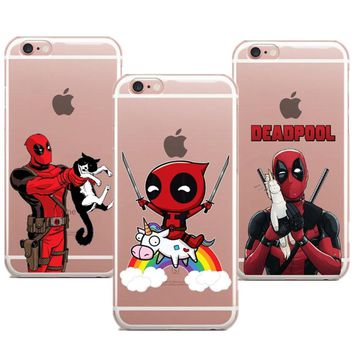 Phone case Funny Spiderman Comics Deadpool soft TPU clear case cover for Apple iPhone X 8 7 7plus 6 6S 6plus 5S SE coque fundas