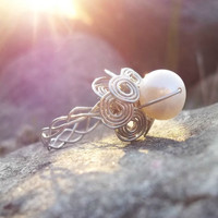 Custom In Your Size Silver Braids and Swirls Wirework Pearl Ring