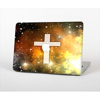 """The Vector White Cross v2 over Yellow Nebula Skin Set for the Apple MacBook Pro 13"""" with Retina Display"""