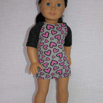 18 inch doll clothes, baseball style mini dress, fitted mini dress, mini dress with hearts,  american girl, Maplelea
