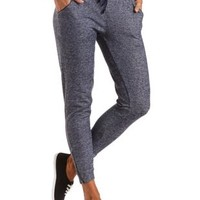 Heathered Zipper Cuff Jogger Pants by Charlotte Russe - Navy Combo