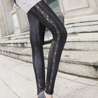 Women Lady Sexy PU Leather Lace Leggings Stretched Skinny Slim Fit Ninth Pants Tights 3 Designs Available