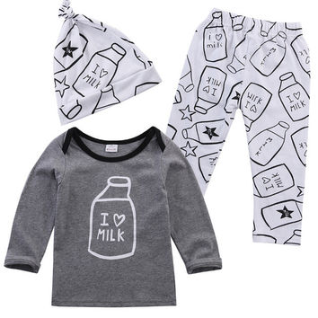 3pcs Toddler Baby Kids Boy Girl Clothes Outwear Long Sleeve Cute Milk Bottle Printed Tops+Pants+Hat Cap Outfits 3 5 12 18 Month