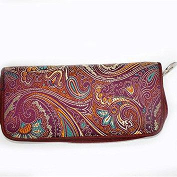 Chinese Silk Brocade Satin Pouch Handbag Pipa pattern Coin Purses Long Wallet