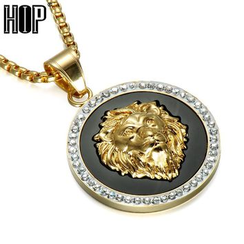 HIP Hop Iced Out Full Rhinestone Lion Pandent & Necklaces Bling Gold Color Stainless Steel Chain Round Necklace for Men Jewelry