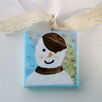 Sassy Little Snowman Ornament, Snowman with Baseball Cap, Mixed Media Painting on Mini Canvas, Christmas Tree Ornament, Snowman Painting