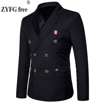 New 2018 Slim Casual Suits Men's double breasted spring High-quality fashion Party patchwork color fit suit men EU/US size Tops