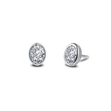 Lafonn Sterling Silver Bezel Set Oval Simulated Diamond Stud Earrings