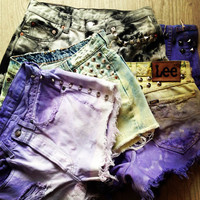 Custom Made studed High Waisted original levis Denim Shorts