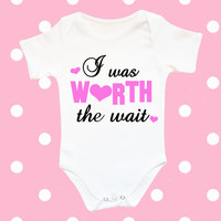 I was worth the wait baby bodysuit, funny baby clothes, newborn baby girl clothes worth the wait baby, coming home outfit, going home outfit