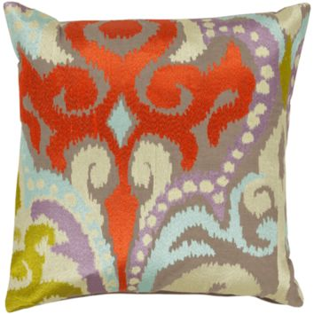 Ara Pillow ~ Bright Orange, Butter, Pale Blue, Lilac, Lime, Taupe