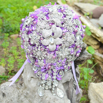 Crystal orchid cascading brooch bouquet -- deposit on a made-to-order bridal brooch bouquet