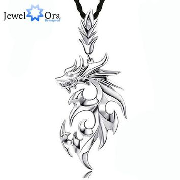 Dragon Shape Accessories Necklaces & Pendants For Men New Fashion Silver Color Jewelry Necklace Gift For Dad(Jewelora NE101104)