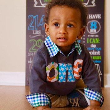 Aqua Planes one 1st Birthday Shirt kids fall boymulti argyle, aqua airplane, orange chevron Boy Party navy long sleeve fan photo stats board