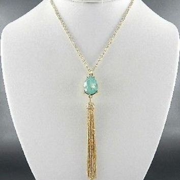 "24"" gold aqua opal teardrop crystal tassel fringe necklace earrings"