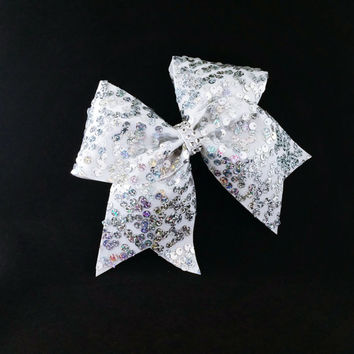 Cheer bow, White cheer bow, sliver cheer bow, reversible sequin cheer bow, cheerleading bow, softball bow, pop warner cheer bow, dance bow
