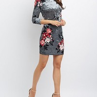 Floral Velvet Backless Bodycon Dress
