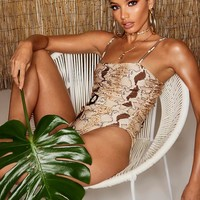 Ring Detail Belted Snake Swimsuit | Boohoo