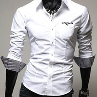 White Shirt Collar Stripes Print Long Sleeves Shirt