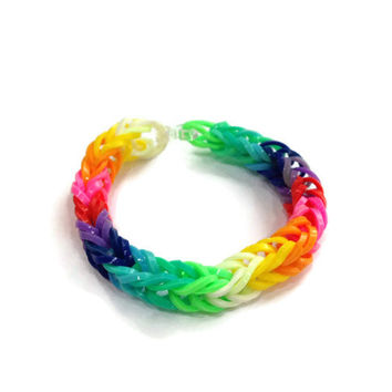 Fishtail rainbow loom band bracelet, friendship bracelet.