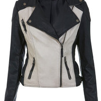 Monochrome Biker Jacket - Coats & Jackets  - Apparel