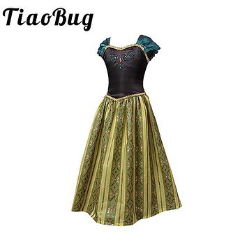 TiaoBug Embroidery Flower Girl Dresses Princess Anna Floral Communion Dress Kids Girls Fancy Birthday Party Dress Prom Ball Gown