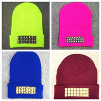 Studded Beanie Hat - Choose - Neon Yellow, Hot Pink, Royal Blue & Burgundy - Choose - Silver Gold Black Studs