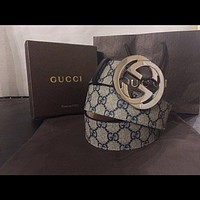 Men Gucci Belt Blue Monogram