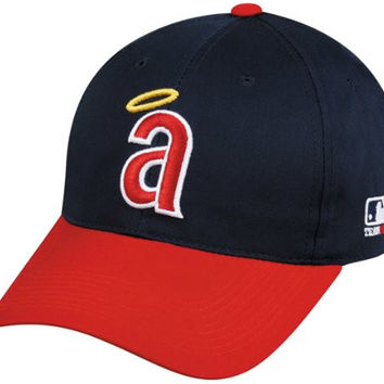 MLB Cooperstown YOUTH California ANGELS Red/Navy Hat Cap Adjustable Velcro TWILL Throwback